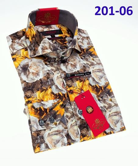 Men's Fashion Shirt by AXXESS - Brown Floral