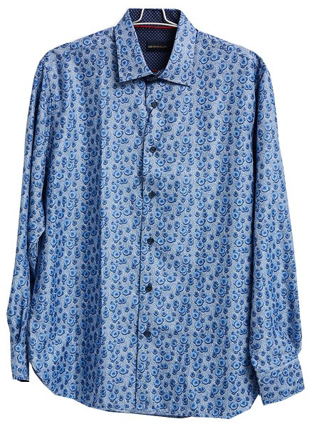 Men's Fashion Shirt by Gem Malki - Pattern / Blue a