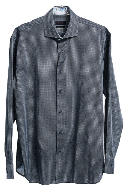 Men's Fashion Shirt by Gem Malki - Squares / Charcoal a