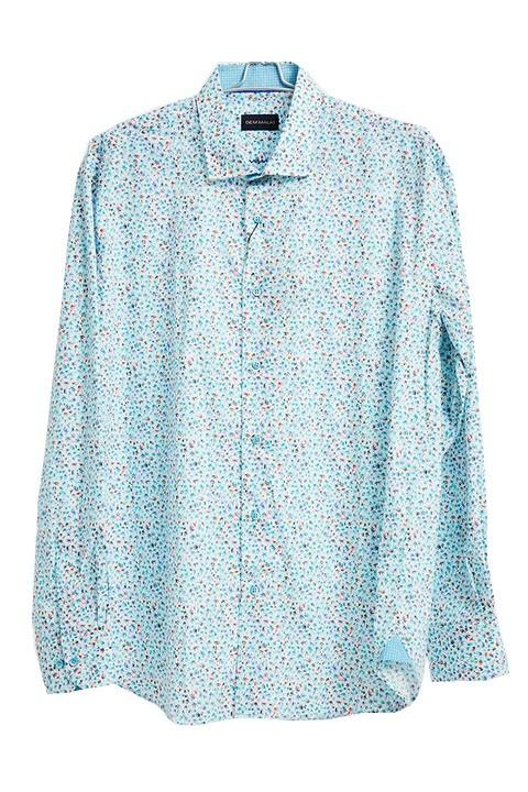 Men's Fashion Shirt by Gem Malki - Turquoise Mini Pattern a