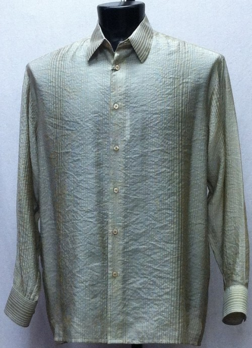 Bassiri L/S Button Down Men's Shirt - Lt Green Shadow Stripe