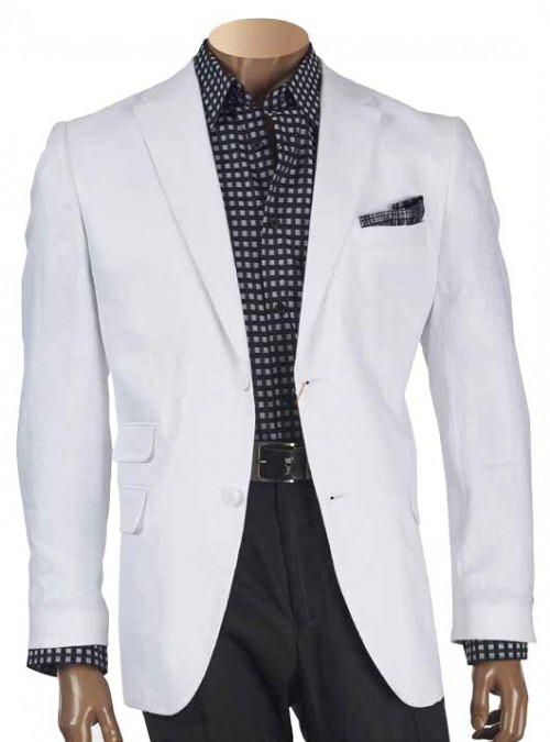 Men's White Linen Twill Blazer by Merc/Inserch