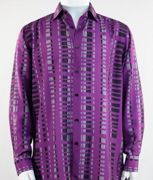 Bassiri L/S Button Down Men's Shirt - Crossed Pattern Purple *NEW*