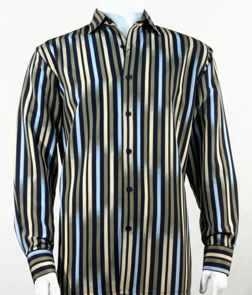 Bassiri L/S Button Down Men's Shirt - Multi Stripes Green
