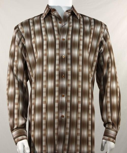 Bassiri L/S Button Down Men's Shirt - Pattern Stripe Brown