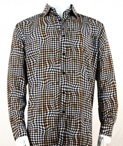 Bassiri L/S Button Down Men's Shirt - Houndstooth / Copper