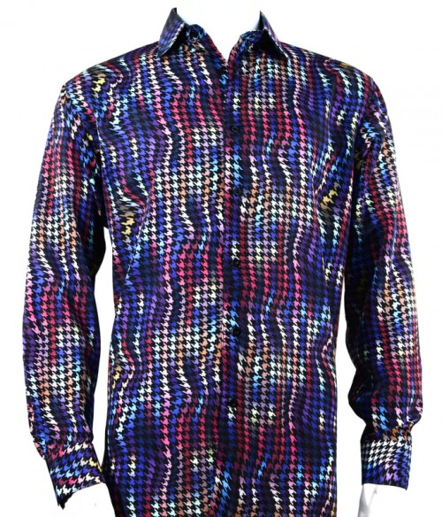 Bassiri L/S Button Down Men's Shirt - Houndstooth / Purple