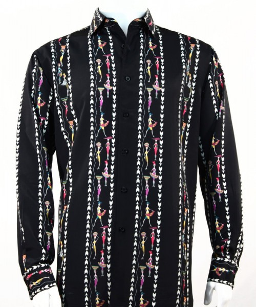 Bassiri L/S Button Down Men's Shirt - Native Girls / Black