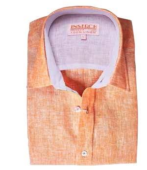 Men's 100% Linen S/S Shirt by Inserch / Merc - Papaya