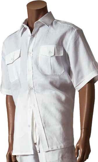 Men's 100% Linen Fashion Shirt by Merc/InSerch - White / Pocket Detail