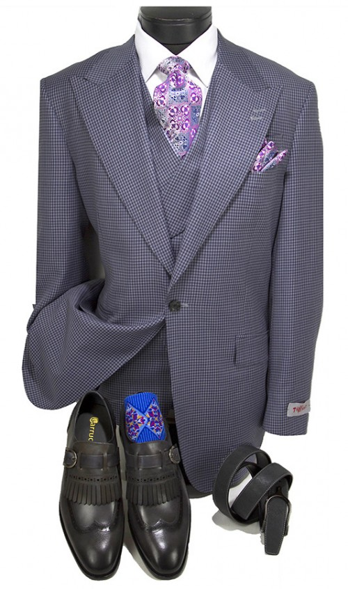 3 Pc Full Cut Men's Suit  by Tiglio Rosso - New Rosso Blue Check
