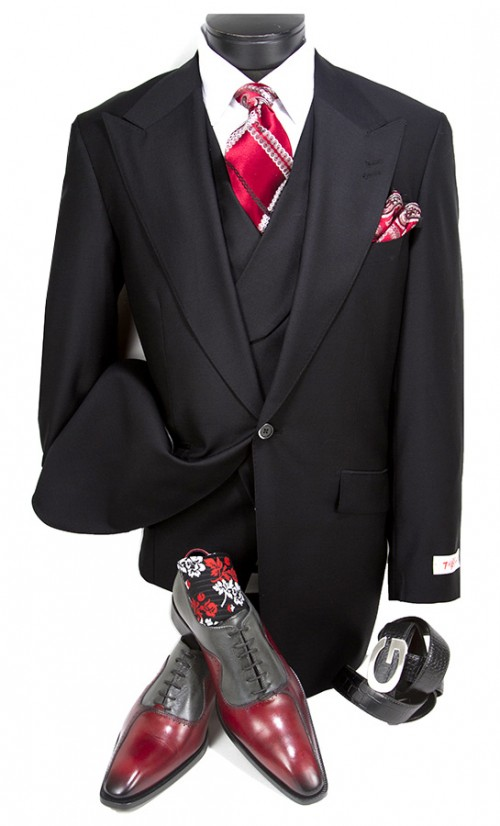 3 Pc Full Cut Men's Suit  by Tiglio Rosso - New Rosso Black