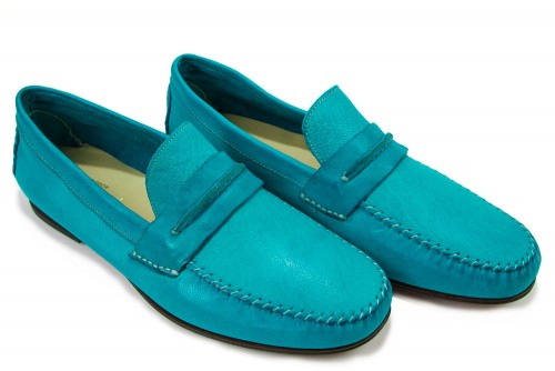 Giovanni Marquez Men's Shoes - Italian Distressed Leather Slip On - Turquoise