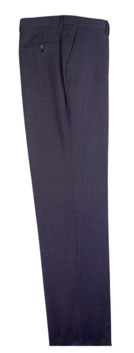 Men's Flat-Front Pants by Tiglio - Dark Gray Birdseye