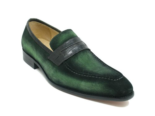 Men's Slip-On Shoes by Carrucci - Penny Loafer / Suede Olive
