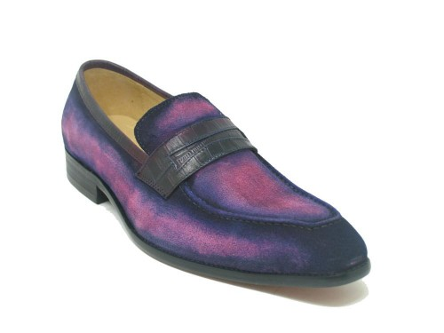 Men's Slip-On Shoes by Carrucci - Penny Loafer / Suede Pink