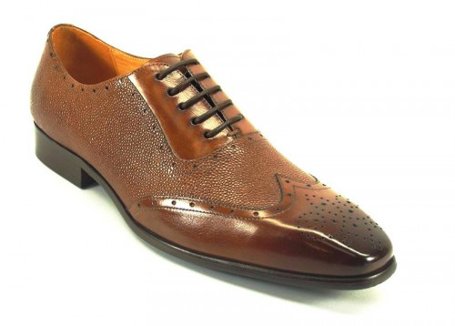 Men's Fashion Shoes by Carrucci - Whisky / Perf Lace-Up