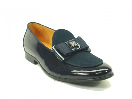 Men's Slip On Leather Loafers by Carrucci - Poem Navy
