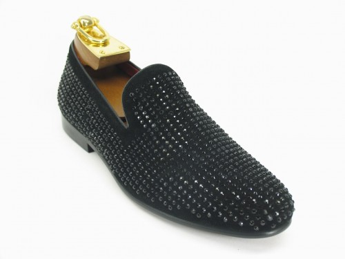 Men's Slip On Shoes by Carrucci - Crystal Detail Black