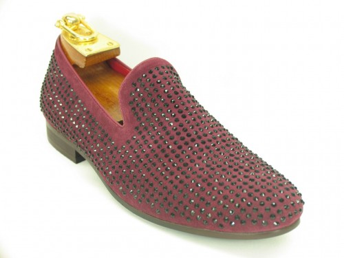 Men's Slip On Shoes by Carrucci - Crystal Detail Burgundy