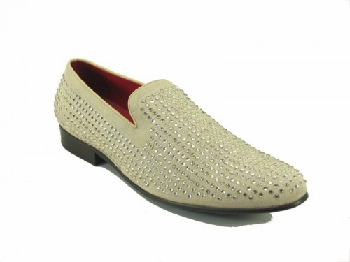 Men's Slip On Shoes by Carrucci - Crystal Detail Bone