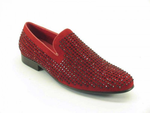 Men's Slip On Suede Dress Shoes by Carrucci - Red/Studs