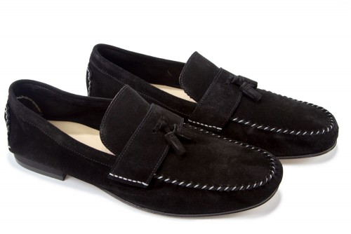 Giovanni Marquez Men's Shoes - Moccasin Loafer with Tassel - Black