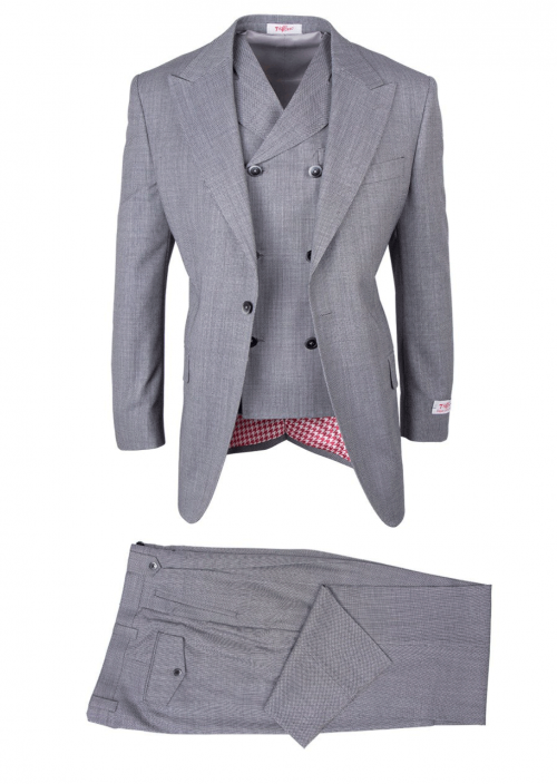 San Giovesse Full Cut Men's Suit  by Tiglio Rosso - Light Gray Birdseye