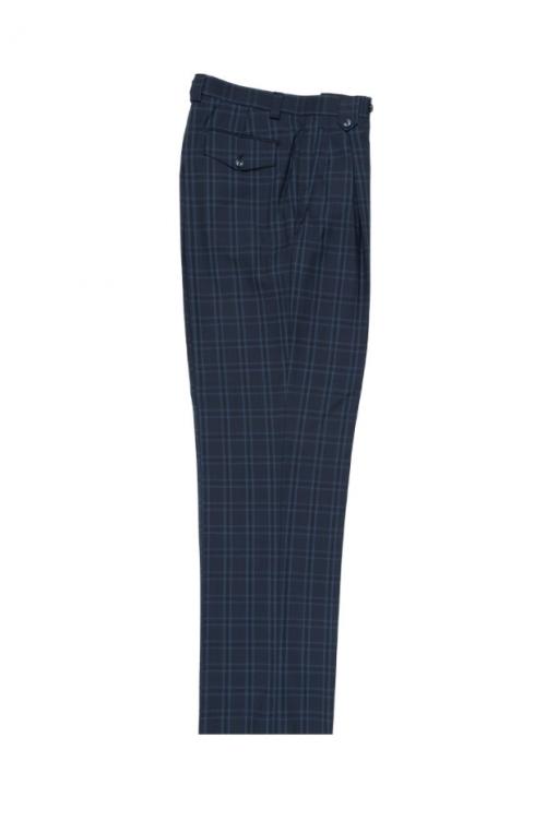 Men's Wide Leg Pleated Pants by Tiglio - 2586/2576 Steel Blue/Blue/Navy Windowpane