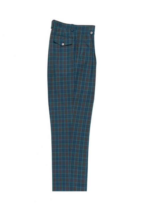 Men's Wide Leg Pleated Pants by Tiglio - 2586/2576 Slate Grey/Navy/Turquoise Plaid/Windowpane