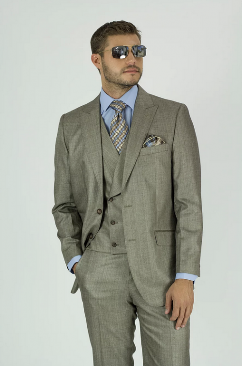 Needle & Stitch Men's 3 Piece Suit - Textured Solid / Taupe