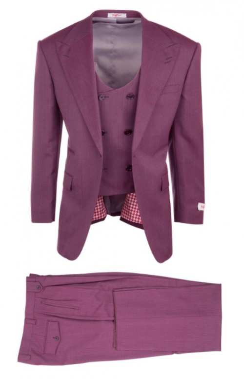 3 Pc Full Cut Men's Suit  by Tiglio Rosso - Luca Rose Wide Leg