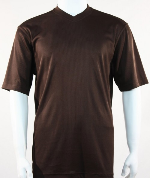 Bassiri S/S Mens V-Neck Knit Microfiber T-Shirt - Brown