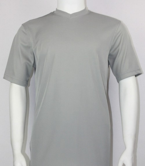 Bassiri S/S Mens V-Neck Knit Microfiber T-Shirt - Grey