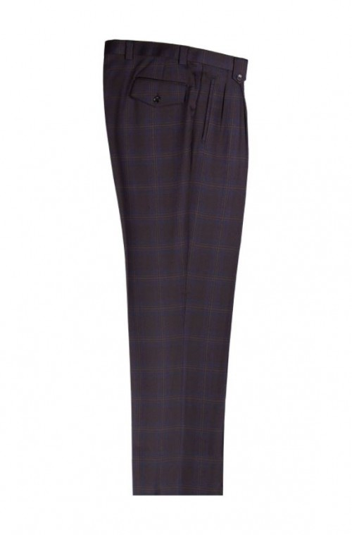 Men's Wide Leg Pleated Pants by Tiglio - 2576 Black and Blue Plaid
