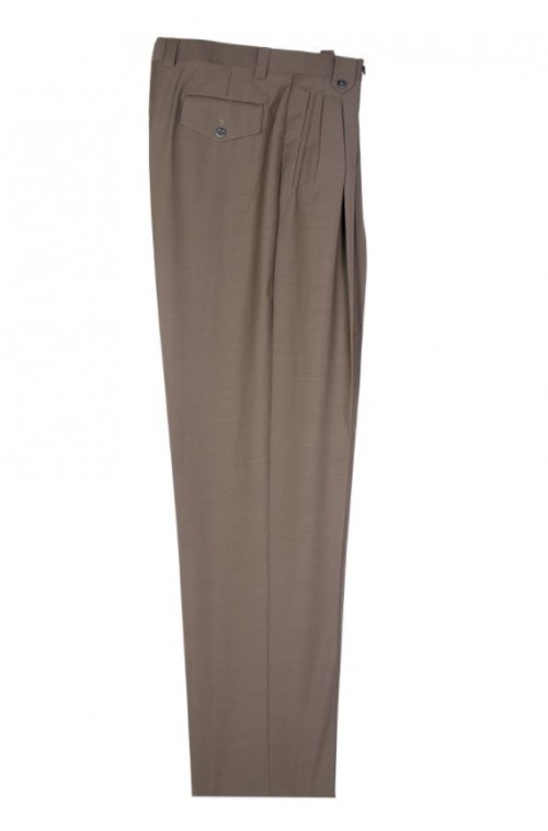 Men's Wide Leg Pleated Pants by Tiglio - 2576 Olive