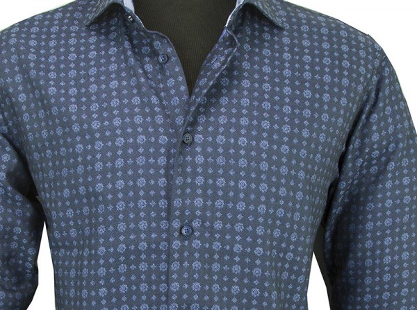 Canaletto Modern Fit Men's Dress Shirt - Made in Italy - Blue Pattern b