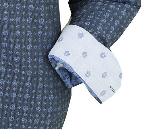 Canaletto Modern Fit Men's Dress Shirt - Made in Italy - Blue Pattern c