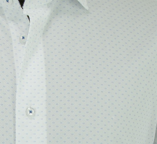 Canaletto Modern Fit Men's Dress Shirt - Made in Italy - White / Blue Squares cc