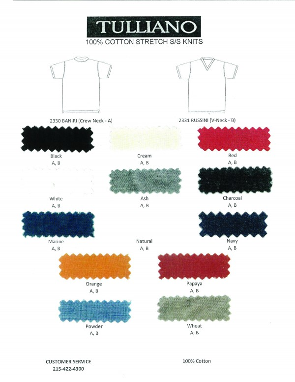 Tulliano S/S Mens Knit V-Neck T-Shirt - AVAILABLE IN 13 COLORS