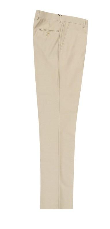 Men's Flat-Front Pants by Tiglio - Tan