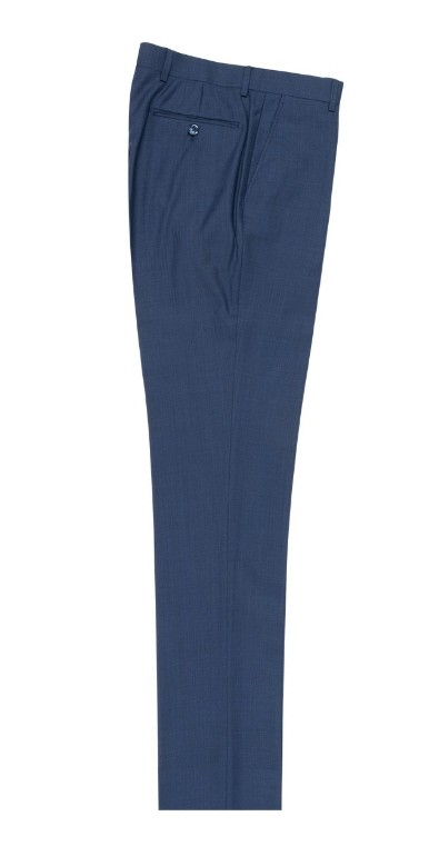 Men's Flat-Front Pants by Tiglio - New Blue