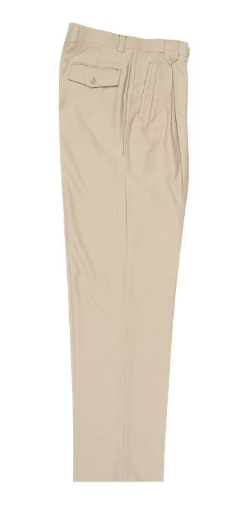 Men's Wide Leg Pleated Pants by Tiglio - Tan