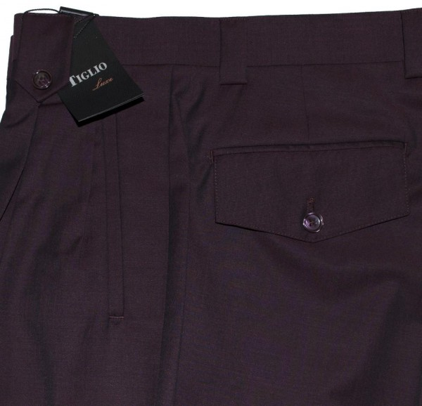 Men's Wide Leg Pleated Pants by Tiglio - 2586/2576 Wine b