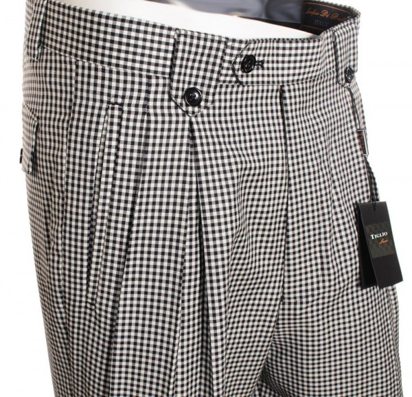 Men's Wide Leg Pleated Pants by Tiglio - 2576 Black and White Houndstooth b