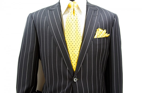 Tiglio Modern Fit  Men's Suit - Black Pinstripe