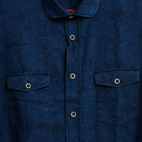 Men's Fashion Shirt by Gem Malki - Navy Shadow Floral b