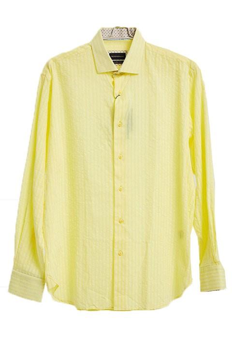 Men's Fashion Shirt by Gem Malki - Shadow Stripe Yellow a