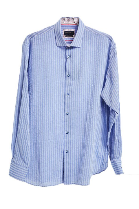 Men's Fashion Shirt by Gem Malki - Blue Stripe a