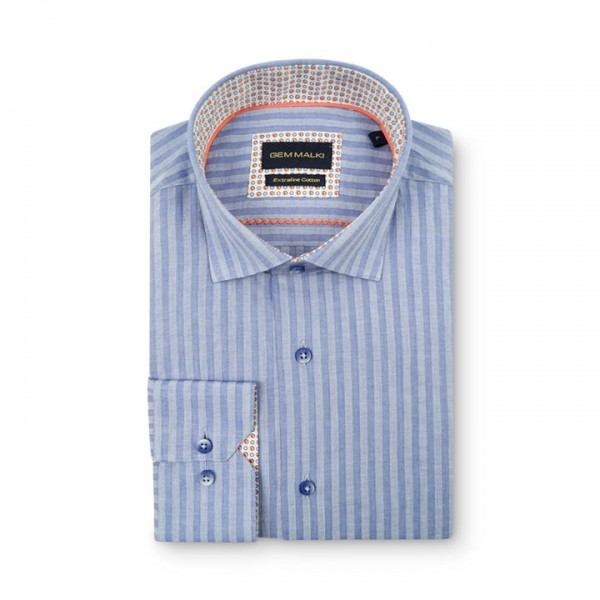 Men's Fashion Shirt by Gem Malki - Blue Stripe d